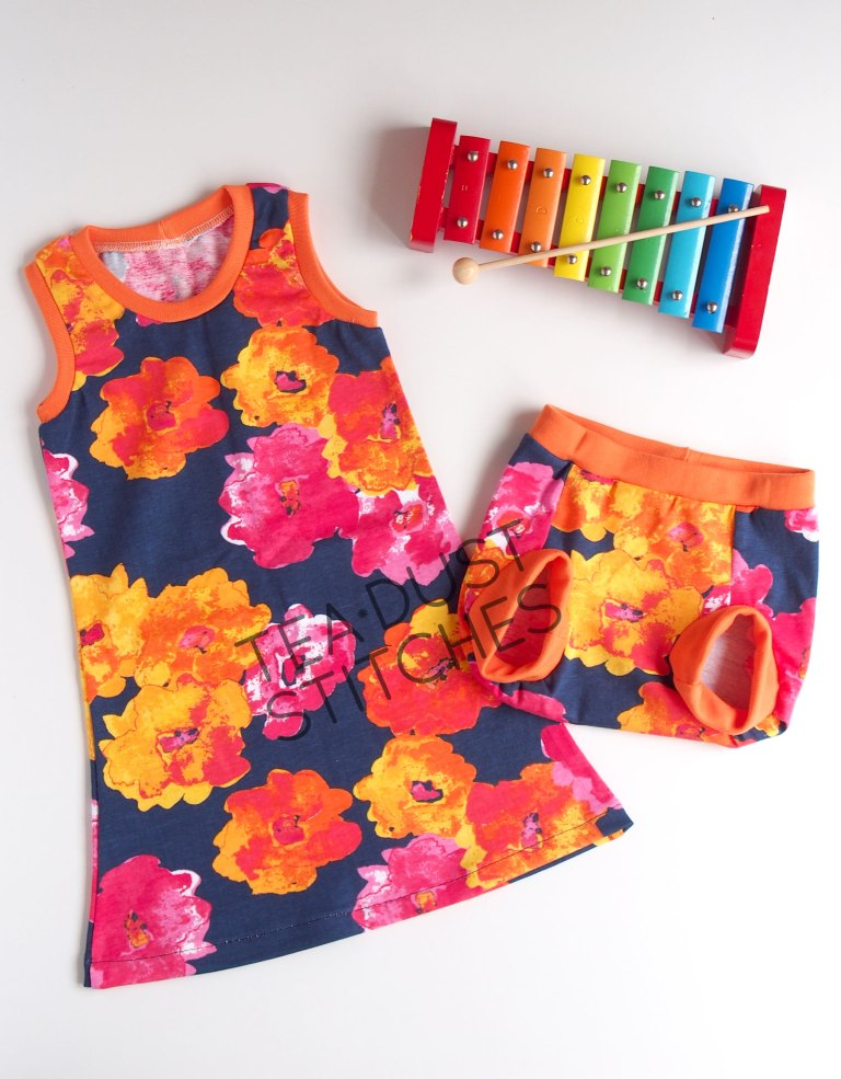 orange-flower-dress-set